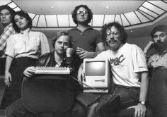 Apple Macintosh team, 1983. From left to right, it's George Crow, Joanna Hoffman, Burrell Smith, Andy Hertzfeld, Bill Atkinson and Jerry Mannock - core software developers of revolutionary Apple Macintosh 128K.