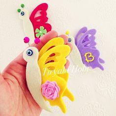♥ Tiryaki Hobi ♥: Keçe bebek şekeri / doğumgünü magneti - Uçan Kelebek