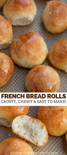 French Bread Rolls are the PERFECT yeast bread to serve on the weekend because they're warm and fluffy on the inside, crusty on the outside, and incredibly easy to make! dinner rolls Crusty French Bread Rolls - Dinner, then Dessert No Yeast Dinner Rolls, Homemade Dinner Rolls, Quick Dinner Rolls, No Yeast Rolls, Easy Homemade Rolls, Easy Rolls, Quick Bread Rolls, Bread Machine Recipes, Dinner Rolls Bread Machine