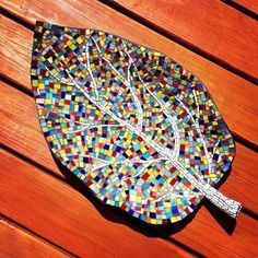 Glass tile mosaic leaf. 14 by 28 inches. Lkf designs