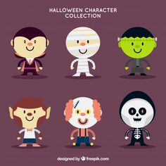 Set of nice halloween characters in flat design Free Vector