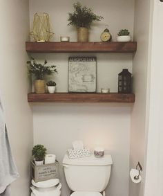 Downstairs bathroom – badezimmer – – Candle Making Toilet Room Decor, Small Toilet Room, Interior Walls, Bathroom Interior Design, Interior Livingroom, Toilet Closet, Shelves Above Toilet, Wood Shelves, Downstairs Toilet