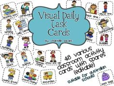 Visual Daily Timetable Cards-  includes editable spares for u to add to suit your own classroom.