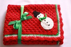Image detail for -crochet baby blanket afghan snowman red granny square christmas gift ...