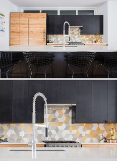 9 Inspirational Pictures Of Kitchens With Geometric Tiles // Yellow, grey, and white diamond shaped tiles create hexagons and make for a fun backsplash in the kitchen of this apartment in Calgary.