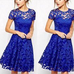 Women Floral Lace Dresses Short Sleeve Party Casual Color Blue Red Black Mini Dress