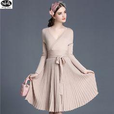 bea8435d445 2017 Autumn New Sexy Long-sleeved V-neck Dress Women Knee-Length Elegant  Bow Waist Fold Pleated Knit Office Dress Party Vestido