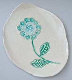 Small plate, Spring Decor, hand painted flower plate, appetizer platter, spoon rest, butter dish, turquoise aqua, pottery plate, tapas plate...