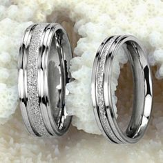 Amazon.com: Pearl Sand Seel Ring Titanium Stainless Steel Couple Wedding Band: Jewelry