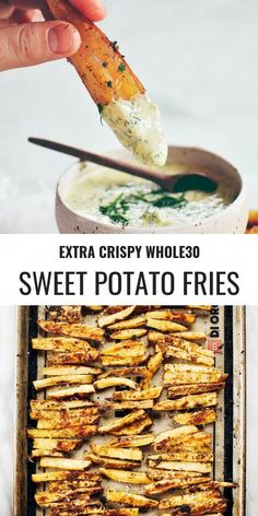 Extra Crispy Garlic Lime Sweet Potato Fries Extra crispy sweet potato fries loaded with fresh lime zest and baked garlic. These delicious compliant, paleo fries are a beautiful snacking addiction waiting to happen! Paleo meal p Whole 30 Snacks, Whole 30 Diet, Paleo Whole 30, Whole Foods, Paleo Recipes, Whole Food Recipes, Dinner Recipes, Cooking Recipes, Easy Whole 30 Recipes