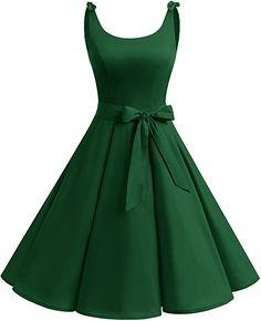 Bbonlinedress 1950er Vintage Polka Dots Pinup Retro Rockabilly Kleid Cocktailkleider Green XL: Amazon.de: Bekleidung
