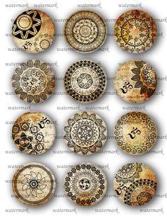 Oriental, Henna ,Mandala, Om ,Mehndi, Zen Yoga  -  Digital Collage Sheet, Download for Resin Pendant, Round Circle Images(147)