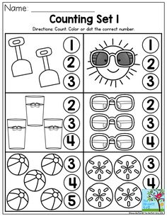 Counting summer fun- Perfect number recognition activity from the Summer Review NO PREP Packet for Preschool!