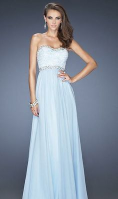 Light Sky Blue Sweetheart Empire Prom Dress.Love the flowing texture.