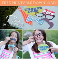 Adorable Photo Booth Printables for Father's Day #papercoterie