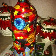Wine bottle lamp I made.