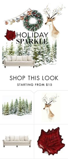 """holidayy!"" by aneicalya ❤ liked on Polyvore featuring interior, interiors, interior design, home, home decor, interior decorating, Two's Company, HolidayParty and deckthehalls"