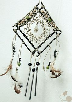 Natural Hemp Dream Catcher, Branches, Chicken Feathers, Wood Beads, Quartz Crystal, Eco Friendly