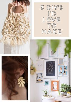 Ready for a little DIYing? I've got another three of my favourites to share. There's a cool macrame bag, some pretty brass earrings and and a washi tape gallery wall.