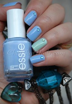 Soft pretty colors of blue and green: Essie Bikini So Teeny is the periwinkle blue, and Revlon Minted is the green.  From ChitChatNails