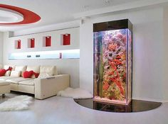 modern interior design with fish aquariums THIS WOULD BE FOR SALTWATER. BUT I WANTED EVERYONE TO SEE. WOW