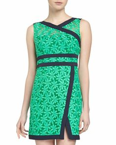 Floral Embroidered Wrap Sleeveless Dress, Green by Nanette Lepore at Neiman Marcus Last Call. So pretty they don't have my size ,