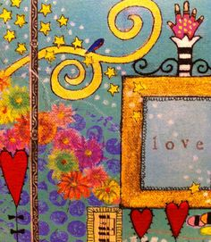'love' mixed media illustration by lori sparkly franklin