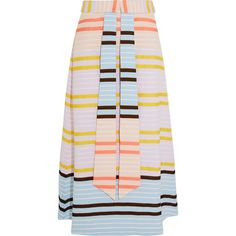 Suno Striped matelassé midi skirt (18 310 UAH) ❤ liked on Polyvore featuring skirts, peach, stripe midi skirt, colorful midi skirts, pink midi skirt, striped skirt and multi color skirt
