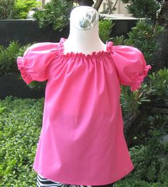 Custom Boutique Hot Pink Peasant Top 12M To 7 by FRANCISBEL