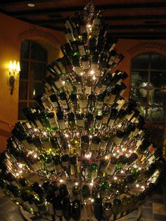 wine bottle Christmas tree...I might save my empties up for a week and give this a go! haha