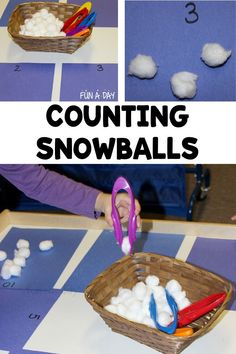 A super simple preschool winter math activity! It's easy to setup and keeps the kids engaged during center time. Let the kids work on their counting and number identification skills during a winter theme. Winter Activities For Kids, Preschool Winter, Winter Crafts For Kids, Winter Kids, Math For Kids, Preschool Classroom, Preschool Learning, Fun Math, Math Activities