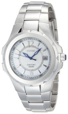 Seiko Men's SGEE65 Coutura Silver-Tone Silver And White Dial Watch Seiko. $105.00. Water resistant depth 100m. Sapphire crystal; cabochon crown. Pushbutton release clasp, screw down case-back. Environmentally safe (No Suggestions) hands and markers, stainless steel case and bracelet, silver/white dial. Men's dress, 3 hands, date. Save 70% Off!