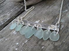 Sea Glass and Hammered Silver Necklace by SimpleLifeDesigns, $45.00