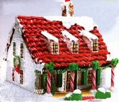 Gingerbread House Patterns.....love this one with the red roof! christmas