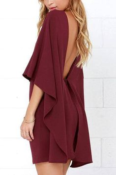 cape backless dress in burgundy