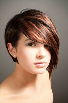 Asymmetrical haircut. -- I love the colors in this.