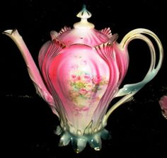Antique-RS-Prussia-1880s-Tea-Set-with-Pink-Floral-ROSE-Design-Book-Piece-Set