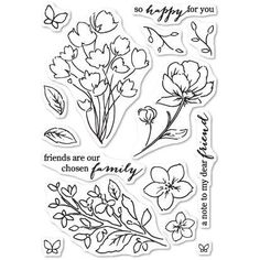 Poppystamps Clear Stamps Friends And Flowers Retiring StampsCraft