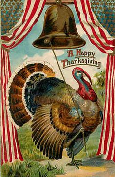 Thanksgiving 1908 Turkey Ringing Bell Stars Stripes Vintage Embossed Postcard