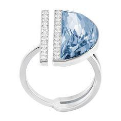 Swarovski Glow Swarovski Crystal Half Moon Ring (475 BRL) ❤ liked on Polyvore featuring jewelry, rings, silver, lord taylor jewelry, swarovski crystals jewelry, half moon ring, swarovski crystal rings and swarovski crystal jewellery