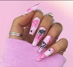 Goth Nails, Edgy Nails, Grunge Nails, Swag Nails, Acrylic Nails Coffin Pink, Halloween Acrylic Nails, Square Acrylic Nails, Graffiti Nails, Crazy Nails