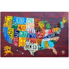 License Plates US Map Wall Decal by RetroPlanetUSA on Etsy https://www.etsy.com/listing/192935284/license-plates-us-map-wall-decal