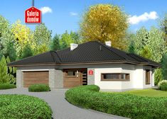 Projekt domu: Dom przy Pastelowej 2 Bungalow, Gazebo, Outdoor Structures, Mansions, House Styles, Outdoor Decor, Home Decor, Country Houses, Kiosk