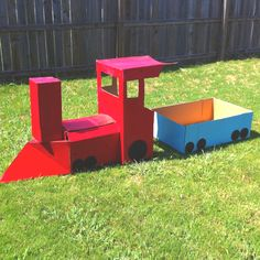 Cardboard Train built by my husband for our daughters 2nd birthday!