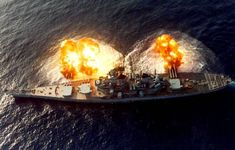 """January 9th 1984, The USS New Jersey fires a broadside salvo from its 16""""/50 guns during a deployment off the coast of Beirut, Lebanon. As part of the Multi National Peacekeeping Force, to which I proudly served during that time.. I served on board during this time.."""
