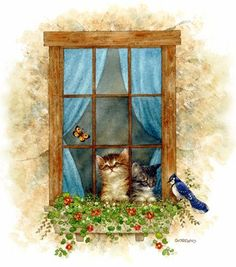 Cats and Blue Birds by Greg Giordano