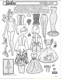 Not exactly paper dolls, but could easily be used as one.  Barbie vintage Drawing Guide images for a Light Table (or ele...
