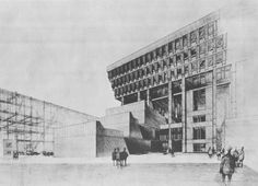 Competition Perspective, Boston City Hall, 1963 (Kallmann, McKinnell & Knowles)