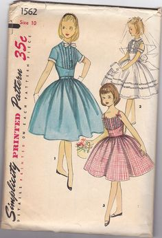 Vintage 1950s Girls Short Sleeve Dress Or Sundress by knightcloth