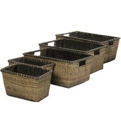 Set of Four Antique Finish Rattan Space Saver Storage Set (China)